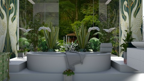 Jungle and white elegance - Bathroom  - by ZsuzsannaCs