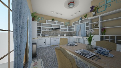 Kewl Blue Kitchen - Eclectic - Kitchen  - by hammedaamany