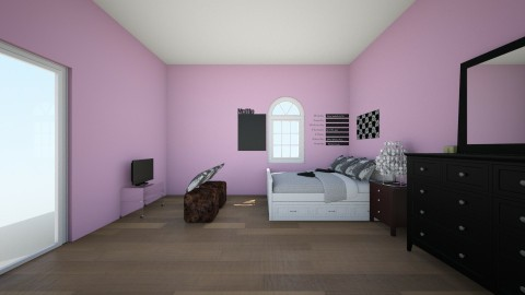 Black and pink  - Glamour - Bedroom - by keelinmargrertobrien