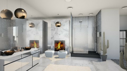 White Marble bathroom - Minimal - Bathroom  - by RonaBradacs