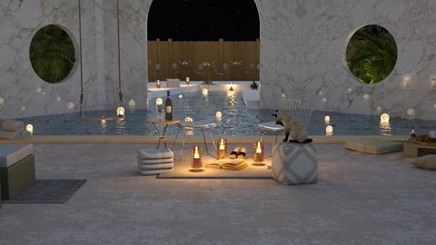 Fancy Hotel Pool at night - Modern - Garden  - by Meghan_and_Pheebs