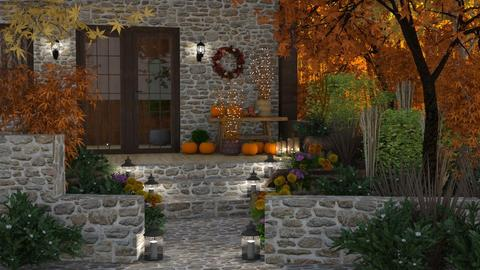 Autumn House in the Woods - Garden  - by GraceKathryn