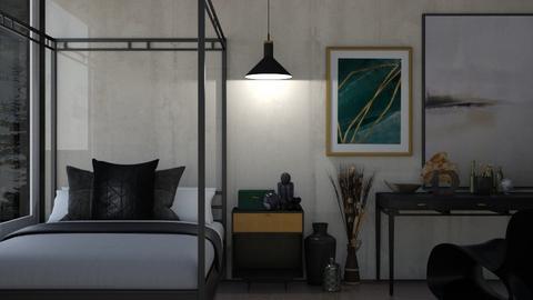 dark resolute bedroom - Masculine - Bedroom  - by moomusr