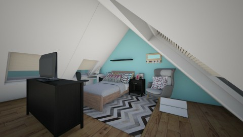 attic bedroom  - Retro - Bedroom  - by ne078712