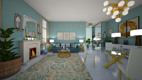 aqua and gold - Living room  - by hillygabe