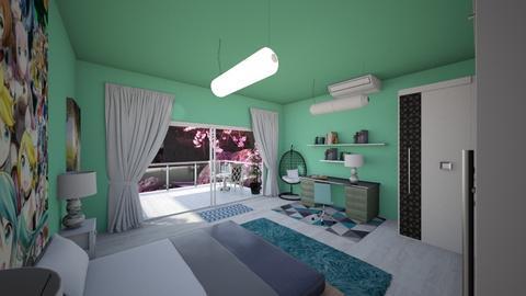 Hatsune Miku  - Bedroom - by Ayayako