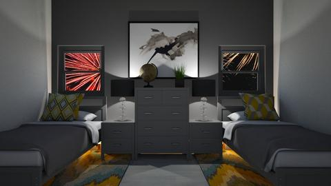 grey and yellow bedroom - Bedroom  - by Max30