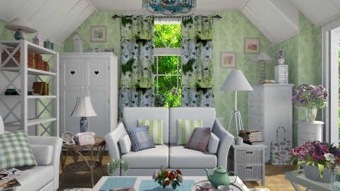 Summer in the Attic - Living room  - by Violetta V