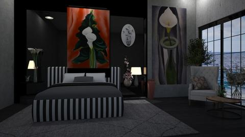 Calla Lilies bedroom - Bedroom - by Sue Bonstra