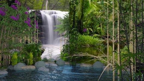 Bamboo forest waterfall - by mijnspeeltuin