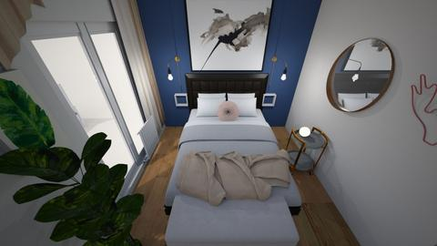 Blue wall bedroom - Bedroom - by Ashlyn Julia