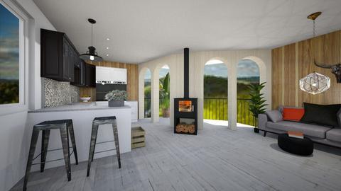 Rustic Balcony Kitchen - Rustic - Kitchen  - by KylaTH