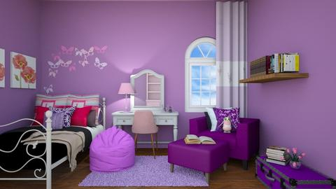 pink and purple room - Bedroom  - by Adrianna1010