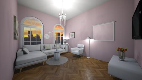 Pink and White - Feminine - Living room - by Twerka
