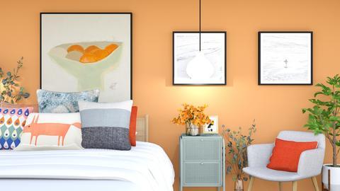 tangerine orange - Retro - Bedroom  - by Happyspaniel