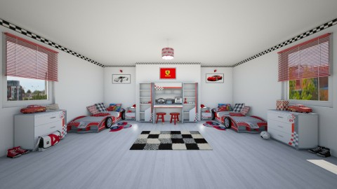 Car Crazy Twins - Kids room  - by creato