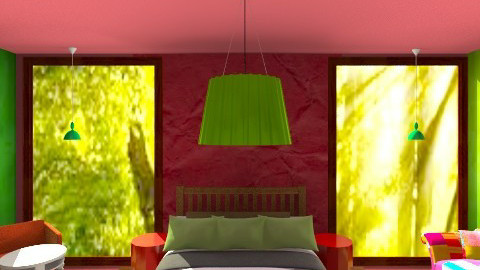 My red and green haven - Eclectic - Bedroom  - by Tiachiel