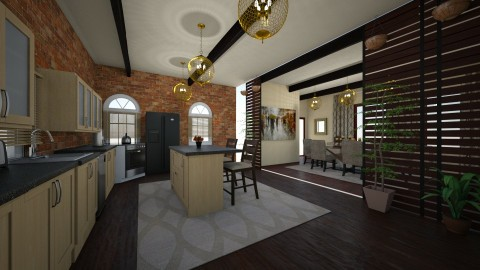 brick kitchen with diningroom - Classic - Kitchen  - by kla