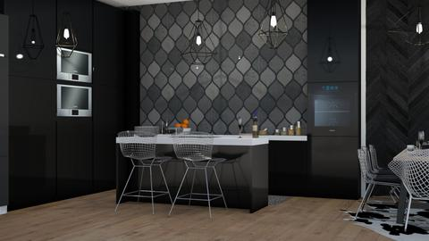 black - Modern - Kitchen  - by NEVERQUITDESIGNIT