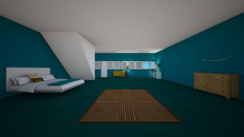 turquoise and gold   - Bedroom - by cat59