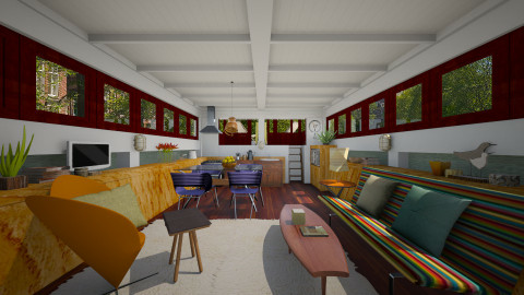 Canal Houseboat - Modern - Living room  - by russ