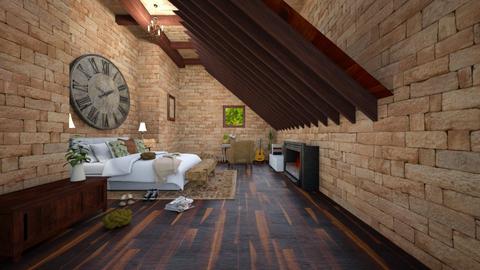 Rustic vintage attic room - Bedroom  - by NGU0008