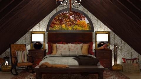 Autumn Pattern Bedroom - Bedroom  - by karihegstrom