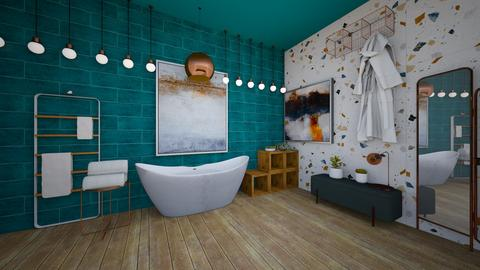 turquoise metal bathroom - Bathroom - by Happyspaniel