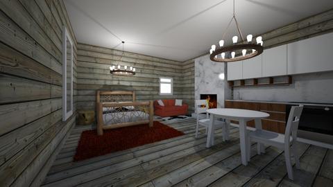 Log Cabin - Living room  - by riordan simpson