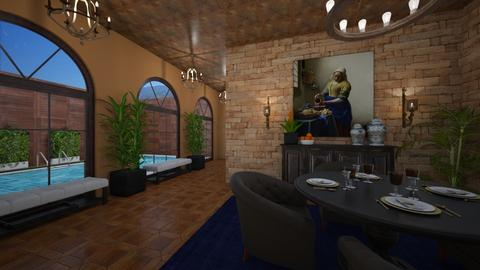 Poolside Dining - Rustic - Dining room  - by nicquo40