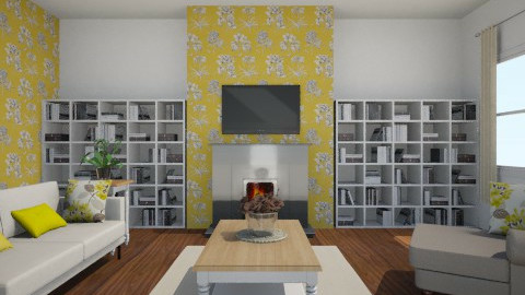 white and yellow - Living room - by muhhahhahhahhaa