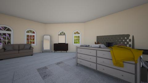 grey bedroom - Minimal - Bedroom - by wolfiewolf123