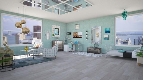 Calm Turquoise with Metal Accents - Bedroom  - by chillycrush