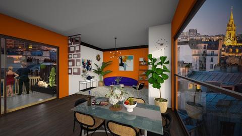 Orange_white apartment - Vintage - Living room  - by yuliababinska