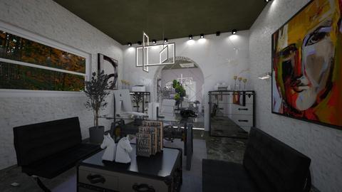 Office_White_Black_Green_Interior - Modern - Office  - by Nikos Tsokos