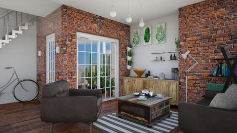 Bricks and glasses - Modern - Living room  - by monicamonica