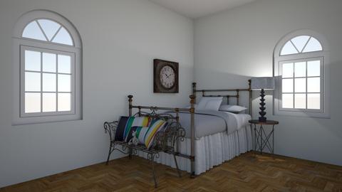 Metal guest room - Rustic - Bedroom  - by Doodlebugisawesome