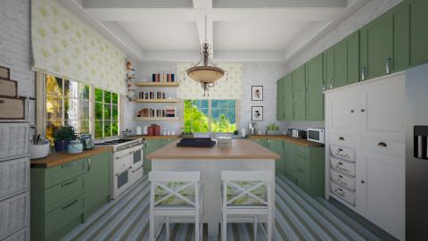 Green kitchen - Kitchen  - by Lizzy0715