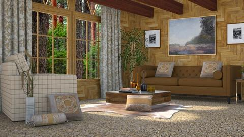 Redwood Living - Rustic - Living room  - by millerfam
