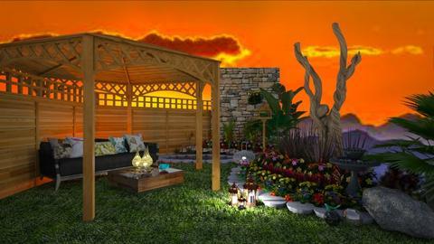 Flower Garden_Evening - Garden  - by Feeny