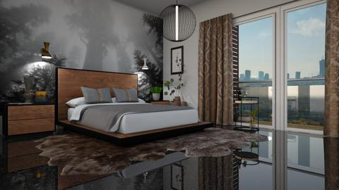wood bedroom and city - Bedroom  - by ewcia3666