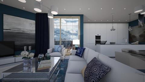 blue  - Living room - by Grigoria Popli