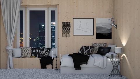 black and white wooden - Bedroom  - by ange06