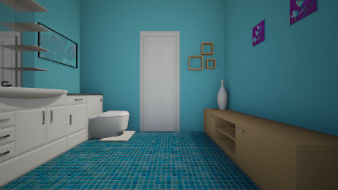 BLU BLOOM BATHROOM - Retro - Bathroom  - by Stephanie Felix