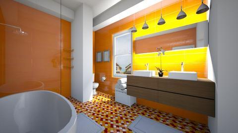 Orange And White Bathroom - Bathroom  - by SammyJPili