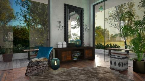 Black_Blue corner - Rustic - Living room  - by ZsuzsannaCs