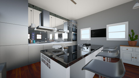 black and white - Modern - Kitchen - by CasuallyCrystalClear