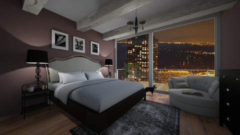 city loft bedroom - by PoukInteriors