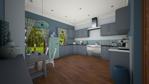 Blue Kitchen - Modern - Kitchen  - by camilla_saurus