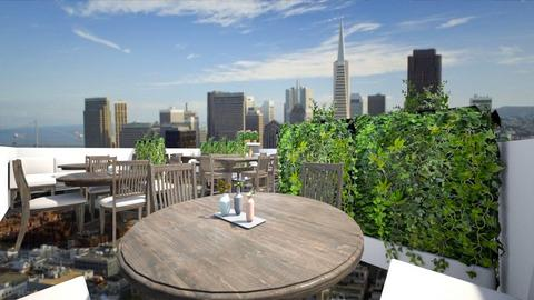 Rooftop Rest w Glass Flr - Dining room  - by SammyJPili